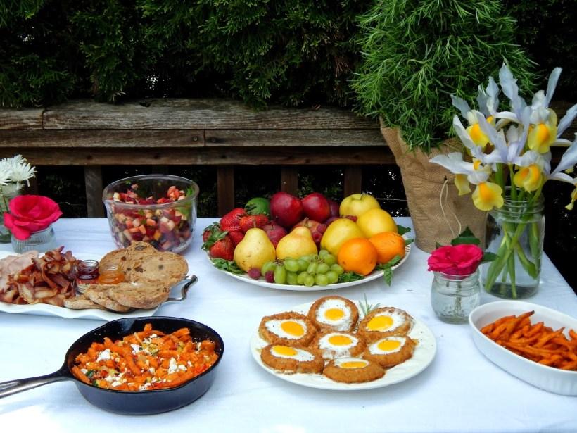 Spring Brunch Photos + Menu with Sweet Potato Hash, Fresh Fruit Salad and more! #SpringintoFlavor #ad