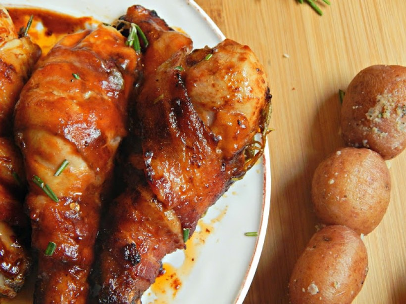 Bacon Wrapped Hickory Smoked BBQ Chicken Legs with Thyme #LegedaryTailgate #ad