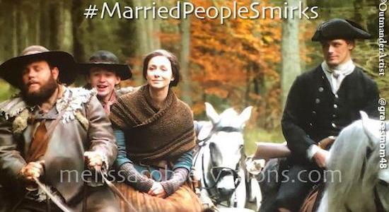 Jamie & Claire communicate via 'the Married Smirk.'