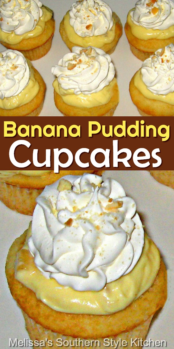 Banana Pudding Cupcakes are portable for picnics, barbecues, potluck parties and tailgating #bananapudding #bananapuddingcupcakes #bananas #pudding #southernbananapudding #cupcakes #desserts #dessertfoodrecipes