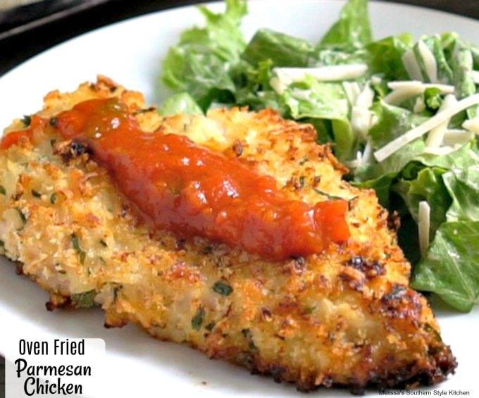 Crispy Oven Fried Parmesan Chicken