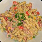 Pasta Salad with Ham, Peas And Muenster Cheese