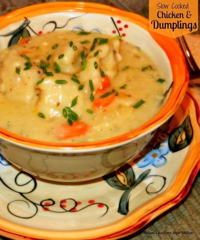 Slow Cooked Chicken And Dumplings Melissassouthernstylekitchen