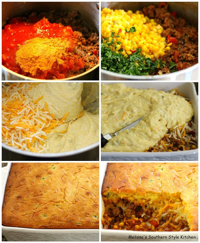 step-by-step images ground beef, corn bread batter and cheese