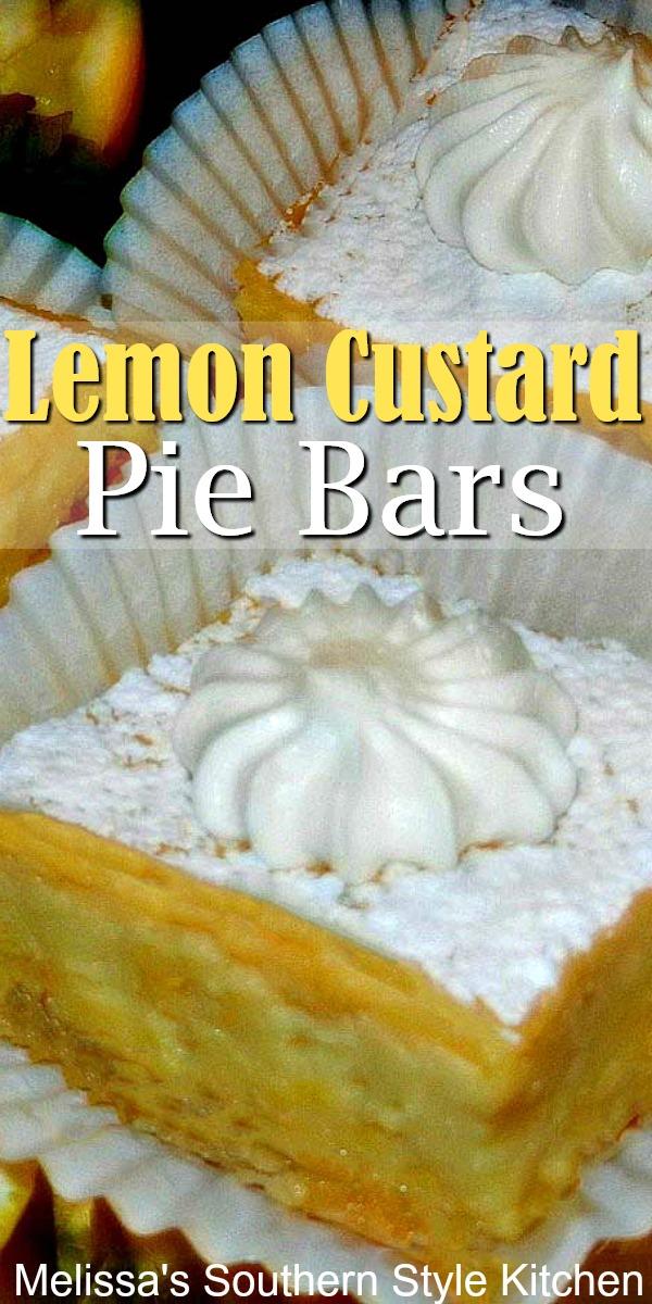 Lemon Custard Pie Bars are a cross between classic lemon bars and lemon custard pie #lemonbars #lemonpie #lemoncustardpie #desserts #dessertfoodrecipes #holidaybaking #picnicdesserts #southernfood #southernrecipes