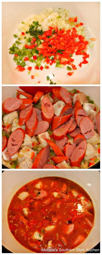 step-by-step images and ingredients for jambalaya