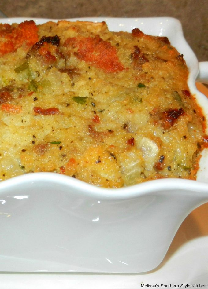 baked cornbread dressing in a dish