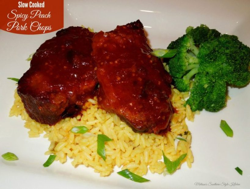 Slow Cooked Spicy Peach Pork Chops