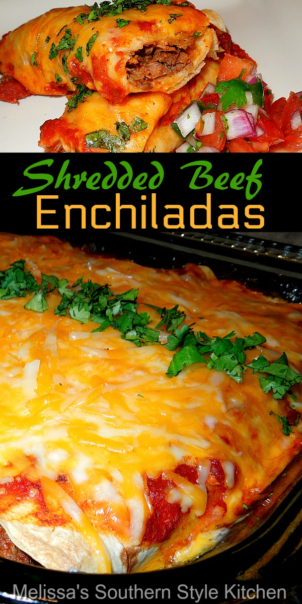 Turn roast beef into a round 2 meal with these kicked-up Shredded Beef Enchiladas #enchiladas #beefrecipes #beefenchiladas #enchiladarecipes #dinner #dinnerdieas #southernfood #southernrecipes #mexicanfood