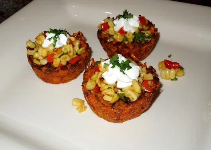 Creole Sweet Potato Nests With A Roasted Sweet Corn Relish