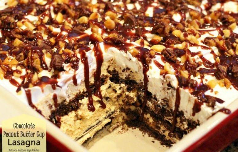 Chocolate Peanut Butter Cup Lasagna