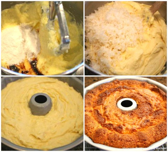 Step-by-step images of ingredients to make coconut pound cake