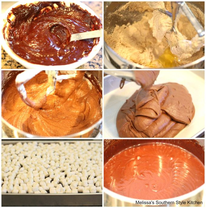 step-by-step images and ingredients for chocolate cake