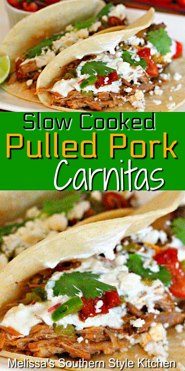 Juicy and succulent Slow Cooked Pulled Pork Carnitas for your next homestyle fiesta #crockpotpork #fiestafood #pulledpork #crockpotpork #carnitas #mexicanfood #dinnerideas #crockpotrecipes #dinner #southernfood #southernrecipes