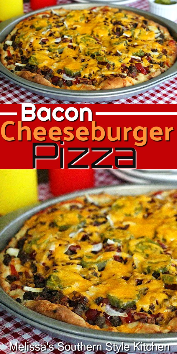 Skip the buns and make this Bacon Cheeseburger Pizza for dinner, instead #baconcheeseburgerpizza #cheeseburgers #baconcheeseburgers #pizzarecipes #baconrecipes #dinnerideas #30minutemeals #easygroundbeefrecipes #southernfood #southernrecipes