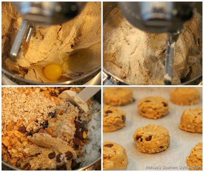 Step-by-step preparation images and ingredients for cowboy cookies