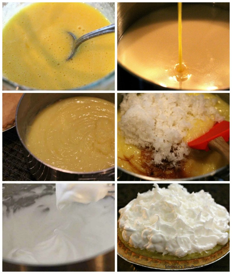 Step-by-step images preparation of Coconut Cream Pie