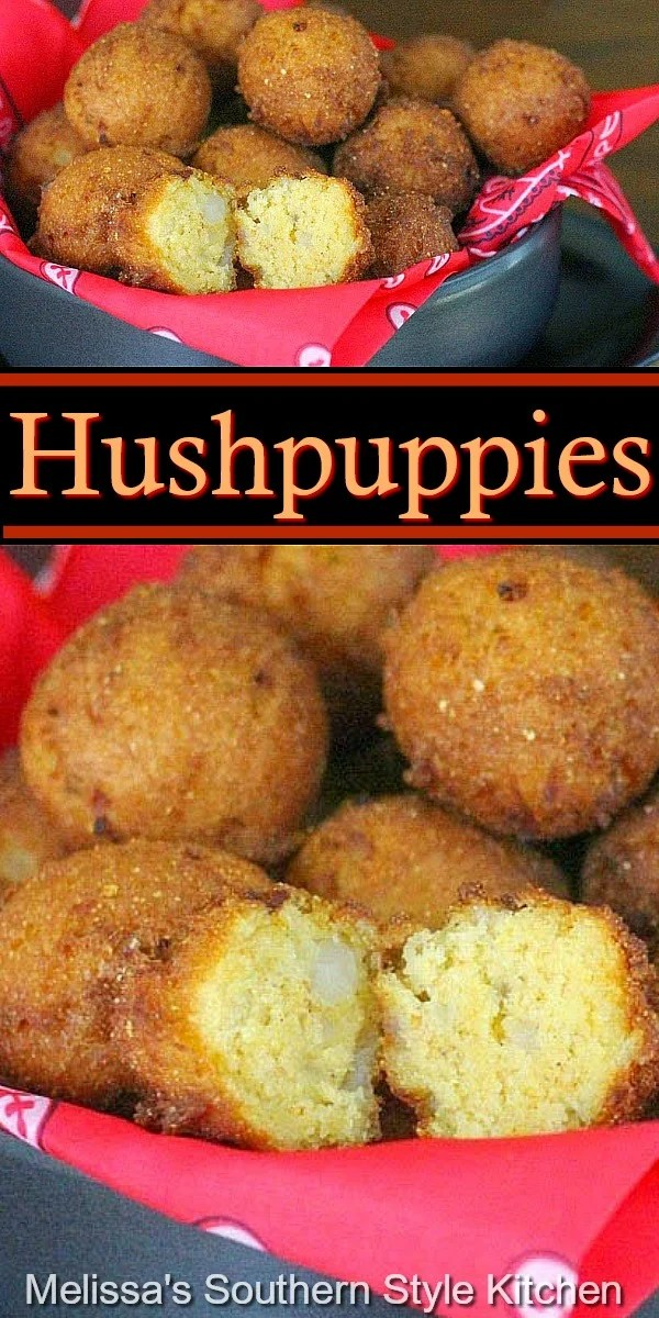 These crispy homemade Hushpuppies are the ideal side dish to add to your seafood menu #hushpuppies #cornbread #seafood #sidedishrecipes #sidedishes #easyrecipes #southernfood #southernrecipes