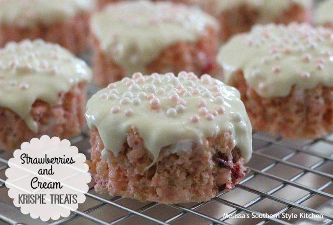 Strawberries And Cream Krispie Treats