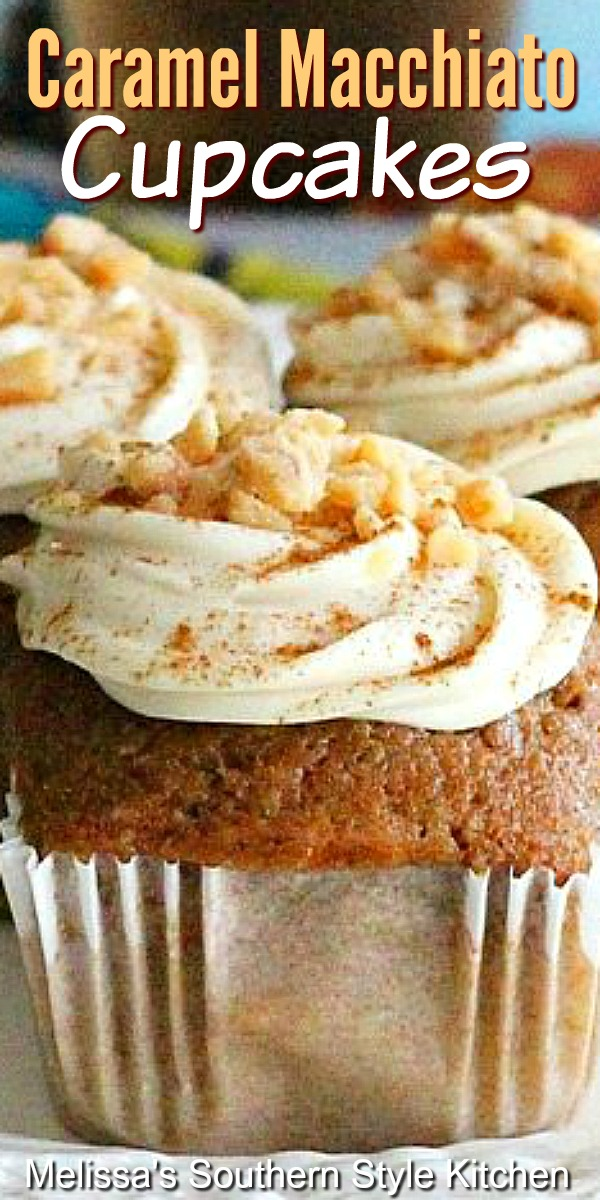 Start your day with these scrumptious Caramel Macchiato Cupcakes with cream cheese frosting #cupcakes #caramelmacchiato #coffeecake #muffins #muffinrecipes #caramel #cakes #desserts #brunch #breakfast #southernfood #southernrecipes