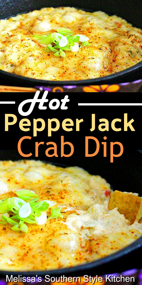 This Hot Pepper Jack Crab Dip is packed with flavor and super easy to make #crabdip #hotcrabdip #bakedcrabdip #pepperjackcheese #appetizers #partyfood #footballfood #holidayrecipes #seafooddip #seafood #jumbolumpcrab #tailgating #southernfood #southernrecipes