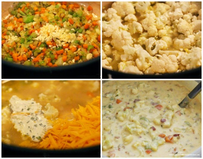 Step-by-step preparation images and ingredients for Cauliflower Soup with Bacon