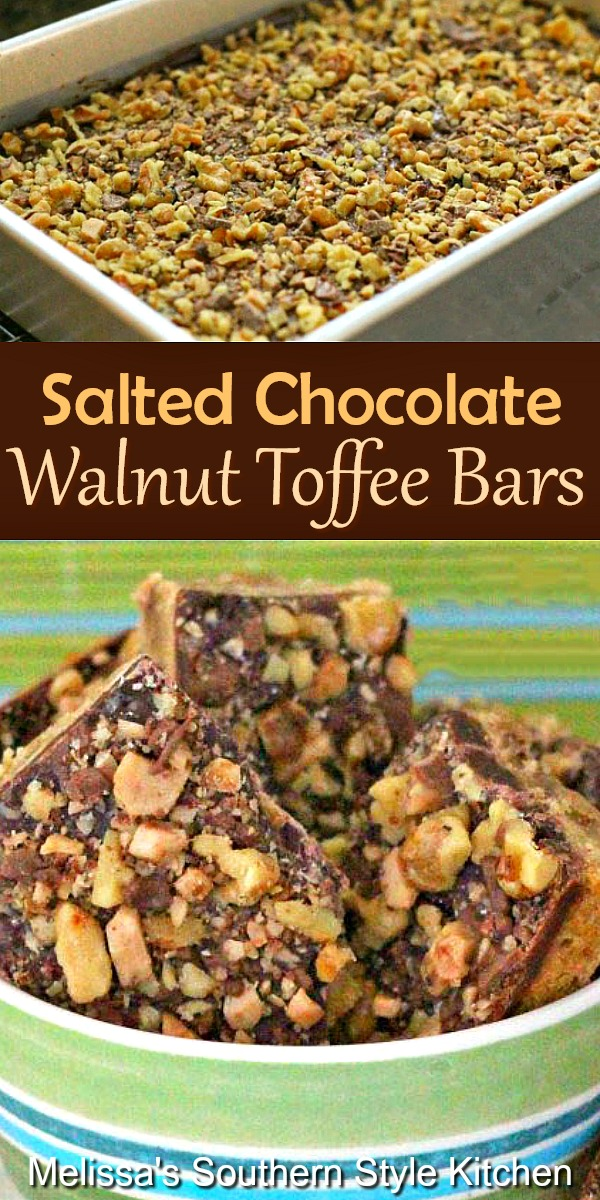 These sweet and salty Salted Chocolate Walnut Toffee Bars are the best of both worlds #saltedchocolate #toffeebars #walnuts #walnuttoffee #cookiebars #chocolare #desserts #dessertfoodrecipes #southernfood #southerndesserts #southernrecipes