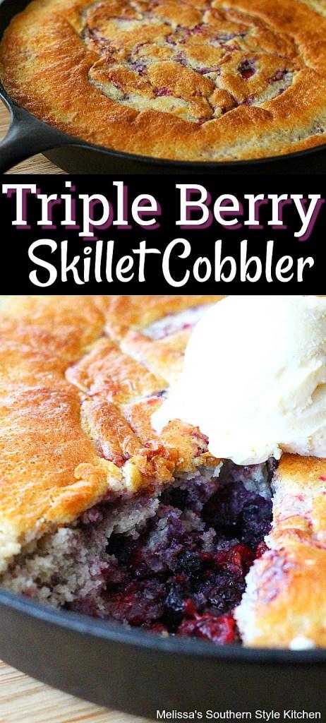 Triple Berry Skillet Cobbler