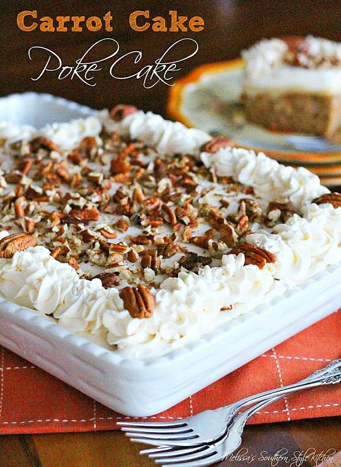 Carrot Cake Poke Cake In Baking Dish