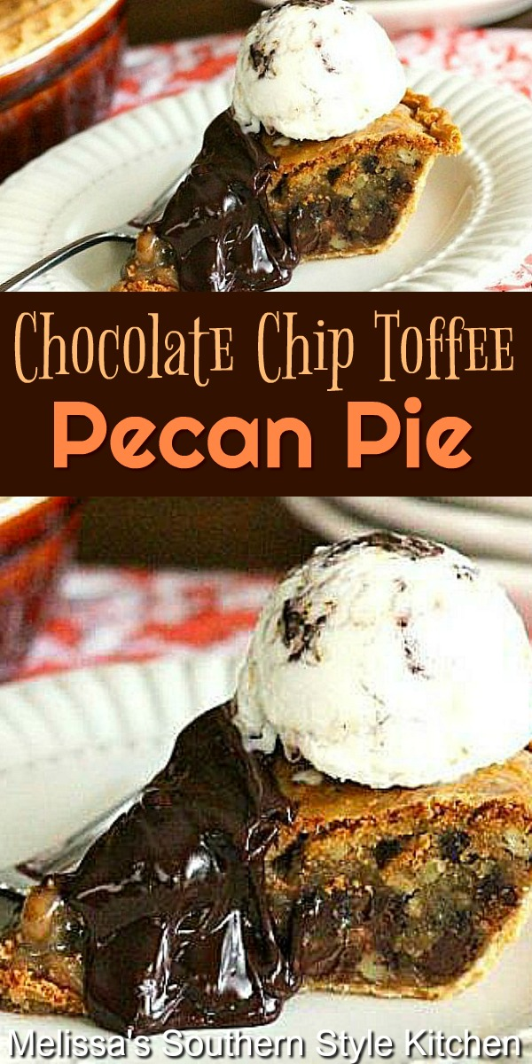 Chocolate Chip Toffee Pecan Pie #pecanpie #chocolatepecanpie #pecanpierecipes #pies #desserts #dessertfoodrecipes #southernfood #holidaydesserts #southernrecipes