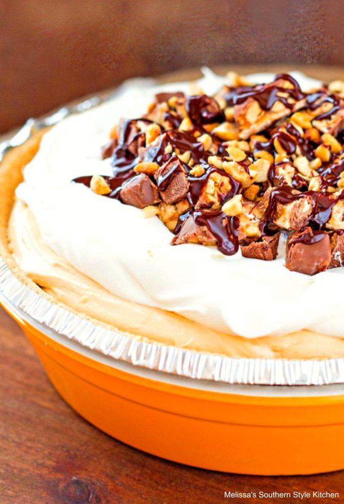 Caramel Snickers Candy Bar Pie
