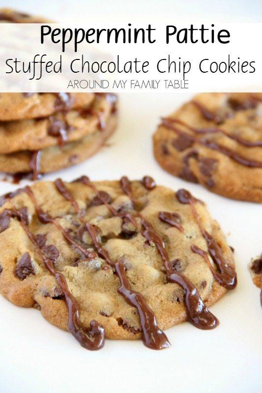 Peppermint Pattie Stuffed Chocolate Chip Cookies