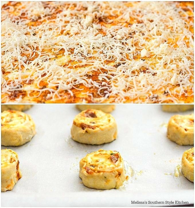 puff pastry on a rolling mat with cheese cut into pinwheels
