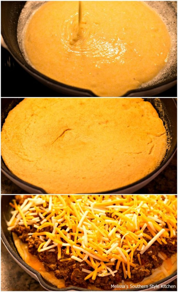 step-by-step images and ingredients for taco pie