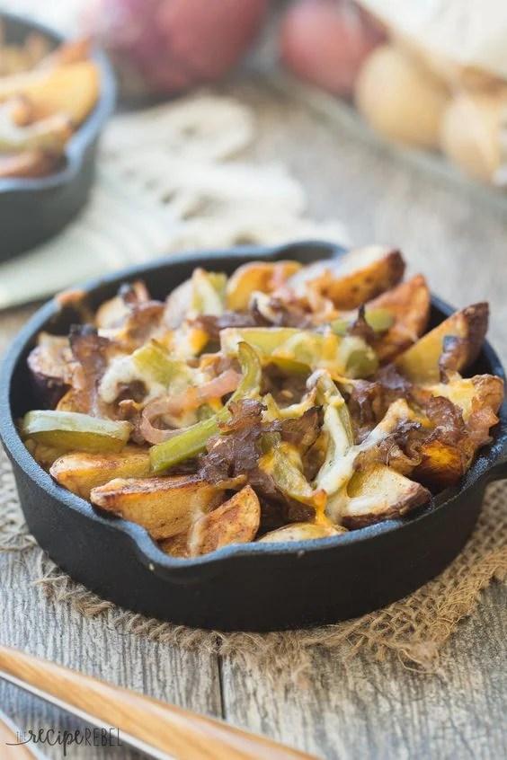 Skillet Philly Cheesesteak Potato Wedges