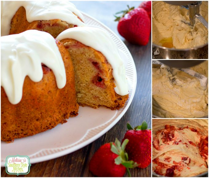 Strawberry Pound Cake with Vanilla Cream Glaze