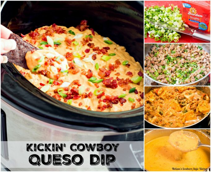 Step-by-step images and ingredients to make Kickin' Cowboy Queso Dip