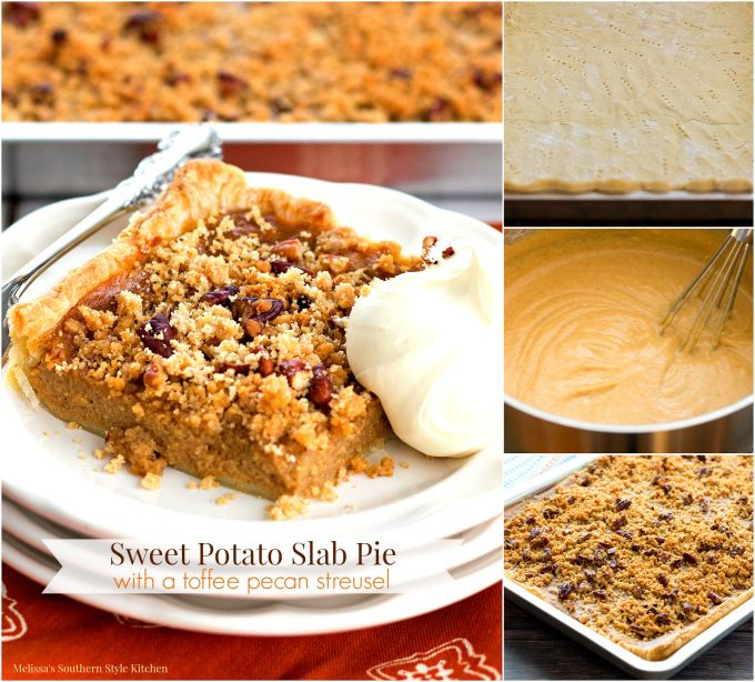 Sweet Potato Slab Pie with a Toffee Pecan Streusel