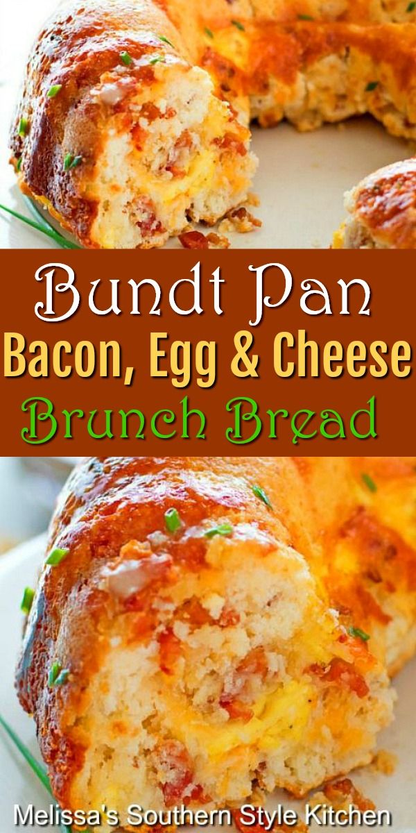 Bundt Pan Bacon Egg and Cheese Brunch Bread is a delicious start to ANY day #brunchbread #baconeggandcheese #cheesebread #bacon #bundtpan #buntpanbread #breadrecipes #biscuits #breakfast #eggs #southernfood #southernrecipes