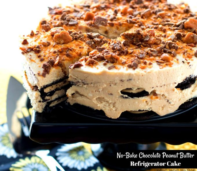 No Bake Chocolate Peanut Butter Refrigerator Cake