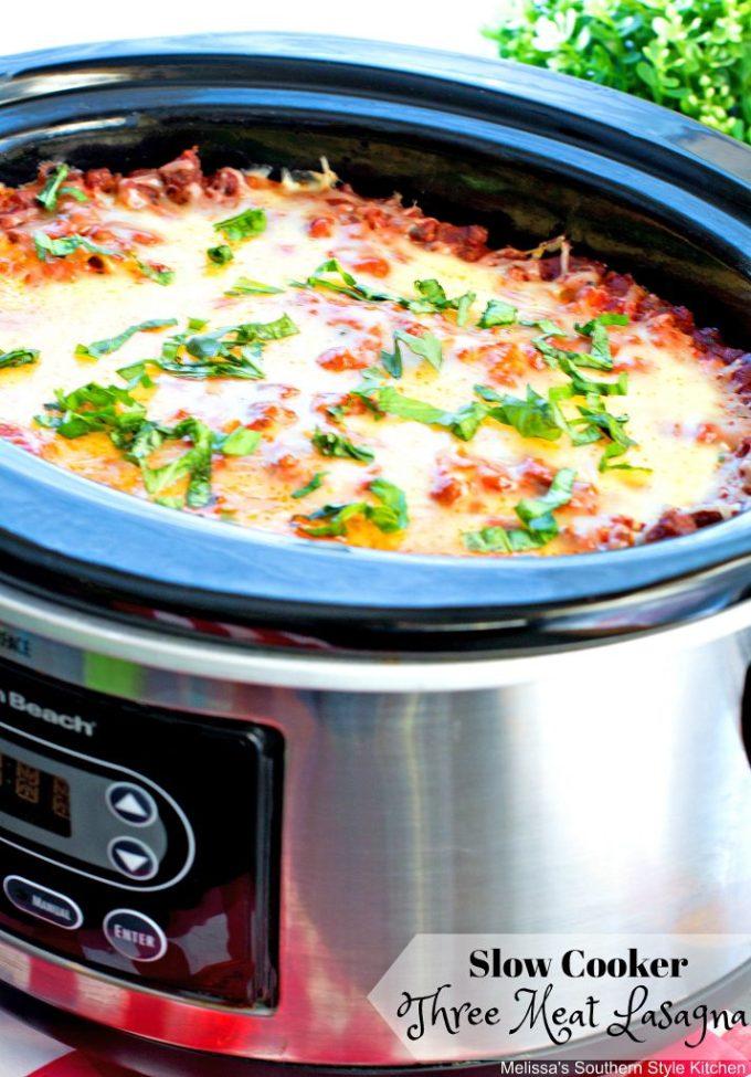 Slow Cooker Three Meat Lasagna