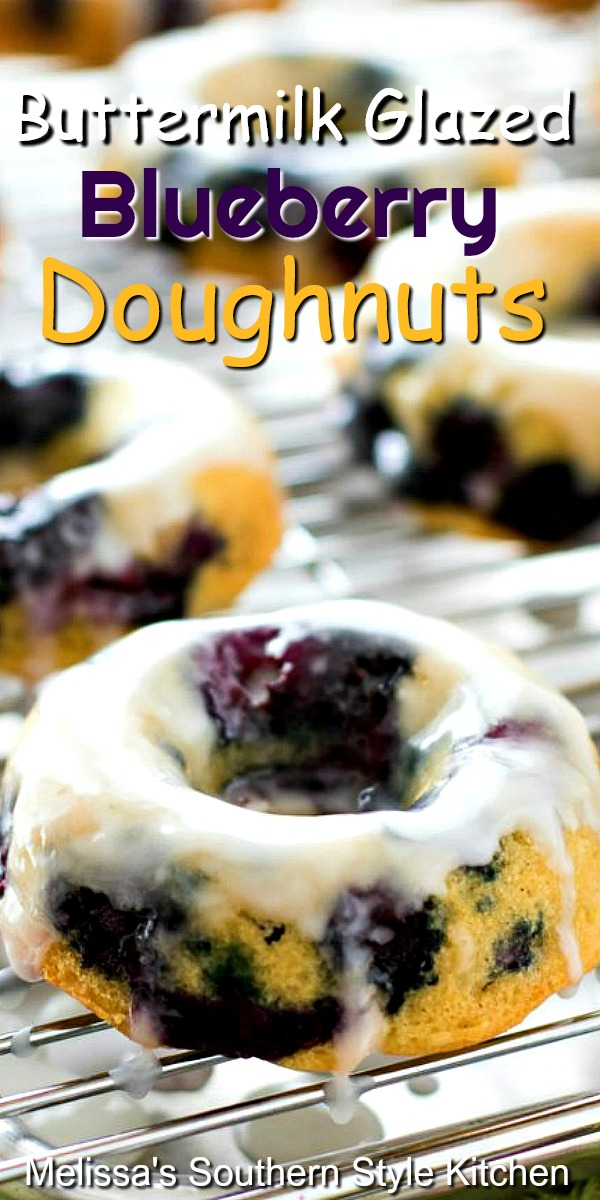 These fruit filled Buttermilk Glazed Blueberry Doughnuts are baked, not fried #blueberrydoughtnuts #blueberries #bakeddonuts #donutrecipes #doughnuts #desserts #dessertfoodrecipes #southernfood #southernrecipes #donuts #brunch #breakfast