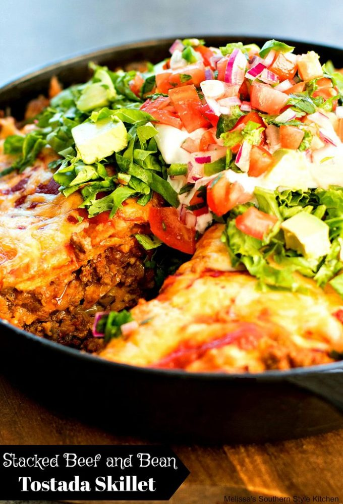 Stacked Beef and Bean Tostada Skillet