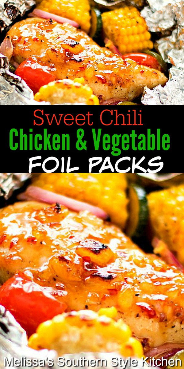 Make this sweet and spicy chicken foil packs for an all-in-one meal with easy clean-up, too! #chickenrecipes #chickenbreastrecipes #healthyfood #dinnerideas #foilpacks #campfiremeals #chicken #chili #southernfood #southernrecipes