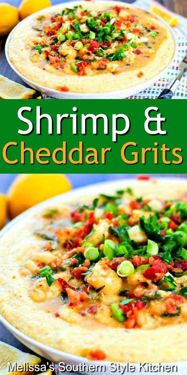 Shrimp and Cheddar Grits is consummate Southern comfort food you can enjoy any day of the week #shrimpandgrits #cheddargrits #shrimp #cheesegrits #southernfood #seafoodrecipes #bacon #southerncomfortfood #dinnerideas #food #recipes
