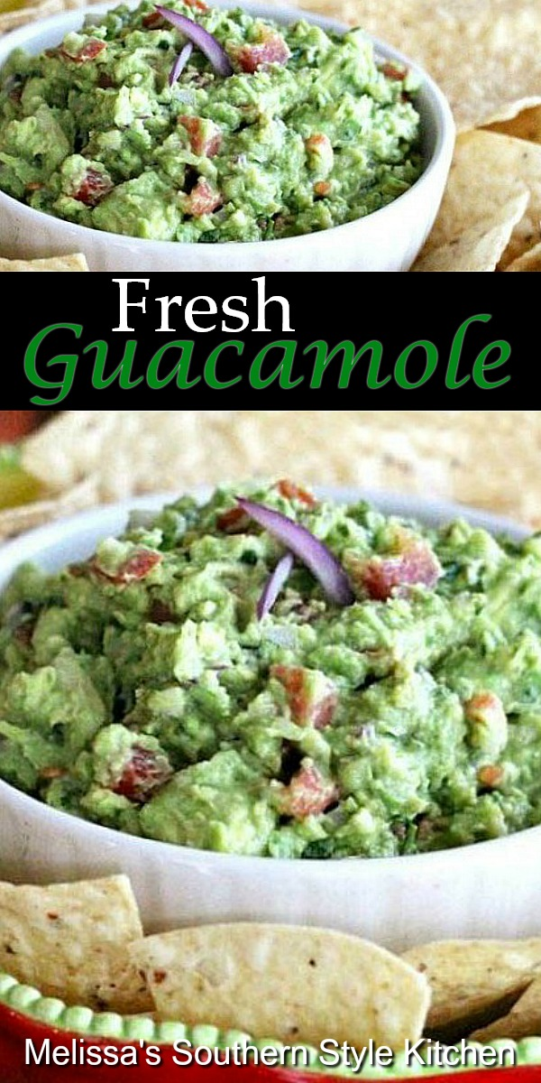There's nothing like a generous dollop of Fresh Guacamole on tacos, salads or with tortilla chips for dipping #guacamole #freshquacamole #lowcarb #lowcarbrecipes #partyfood #bestguacamolerecipe #appetizers #diprecipes #avocados #avocadorecipes #southernfood #southernrecipes