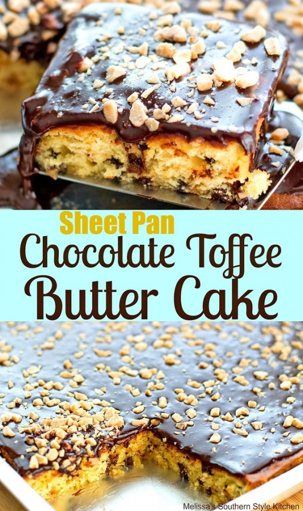 Sheet Pan Chocolate Toffee Butter Cake with Fudge Frosting