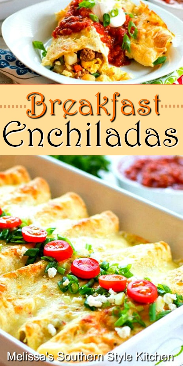 Breakfast Enchiladas wrap-up everything you love about breakfast in tortillas smothered with a creamy salsa verde sauce #breakfastenchiladas #breakfast #enchiladas #eggs #sausage #casseroles #brunch #mexicanfood #salsaverde #salsa #southernfood #southernrecipes