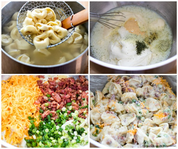 Cooked tortellini and ingredients needed to make Cheddar Bacon Ranch Tortellini Salad