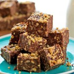 Chocolate Peanut Butter Toffee Crunch Bars on a plate